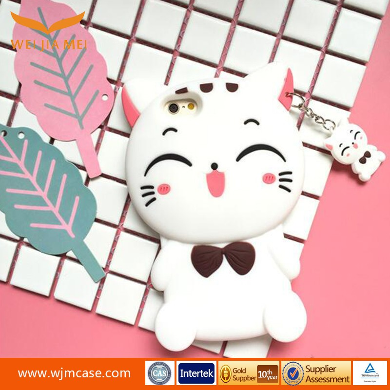 White Cat 3D cartoon silicone mobile phone cases for iphone 6 6plus 7 7plus carton