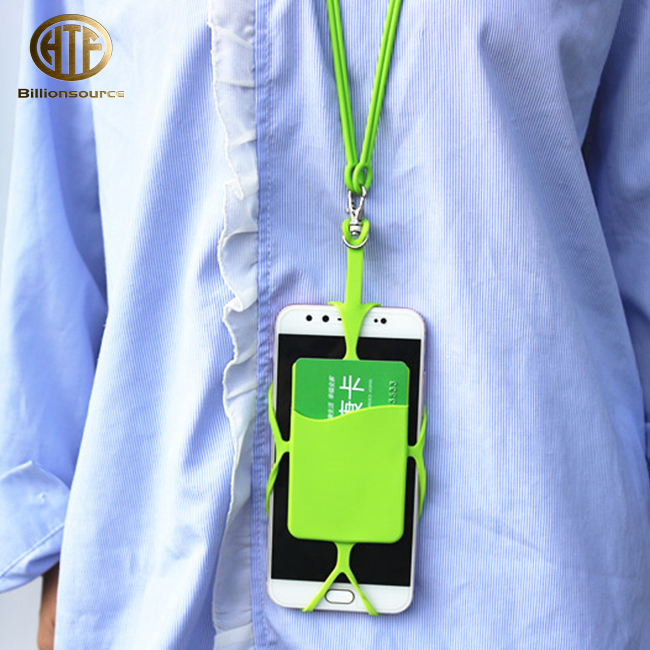 2018 silicone mobile cell phone wrist strap string lanyard with pocket sleeve case