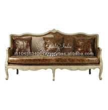Leather Stuffed French Style Country Sofa