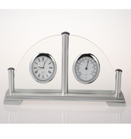 Metal clock with hygrometer