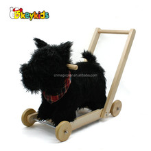 Wholesale lovely black plush animal design baby wooden rocking horse toy with pull handle W16D114