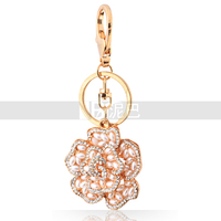 Beautiful Color Rose Crystal Pearl Key Chain For women Elegant Handbag Charms Delicate Gift