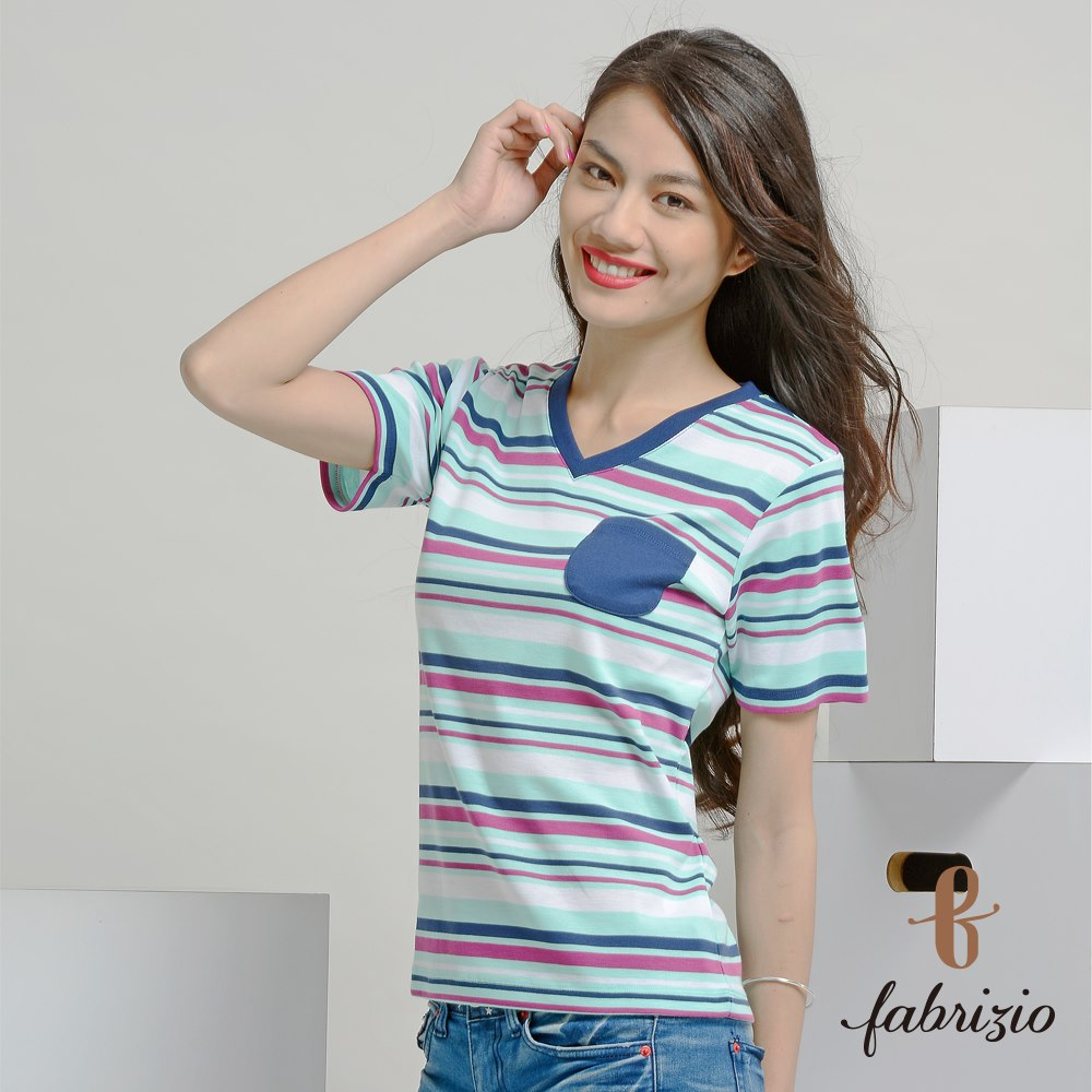 Blouses & Tops wholesale New design daily wear Colored Polyester cotton V-neck Engineer Stripe made in taiwan T-shirts
