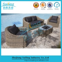American style cheap u shape rattan handmake used luxury sofa sets
