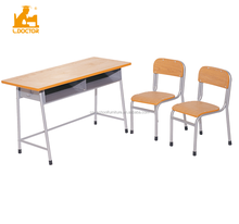 Cheap Price Plywood Double School Desk and Chairs for Preschool students, double kids desk chairs set