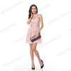 Summer pink chiffon ruffle lace appliqued tulle elegant one piece prom dresses
