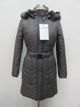 Maloni Ladies' 290TF 100% polyester thick padding fur hood eage coat with belt