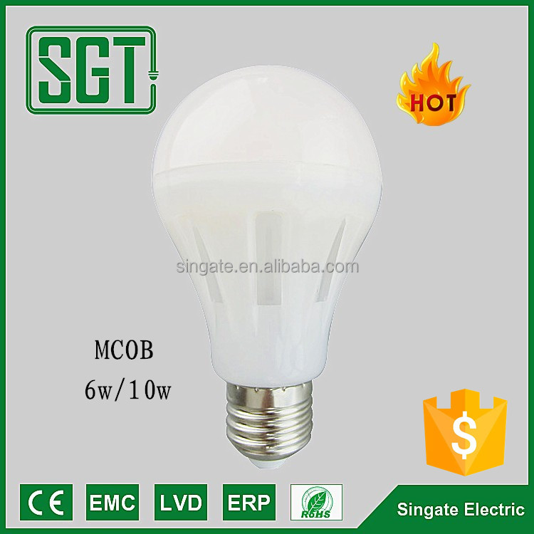 HOT Sale MCOB LED lighting bulbs 6w 10w E27 360 Degree A65 led the lamp with CE ROHS Certificate