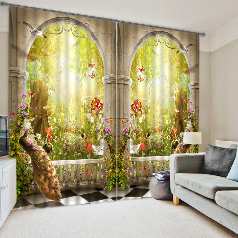 Turkish European Style Hot Sale Door Air Blackout 3D Printed 100 % Polyester Fabric Window Curtain