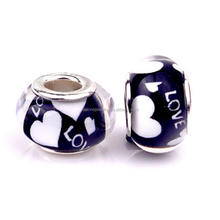 Special Design European Resin Charms Heart Love Murano Glass Beads