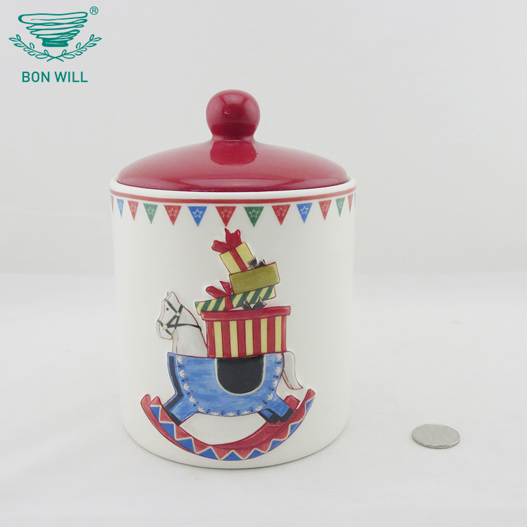 Custom design embossed decal christmas kitchen food storage canister jar