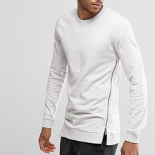 AHD075 Men Apparel Wholesale Blank Cotton White Pullover Side Zipper Men's Hoodies