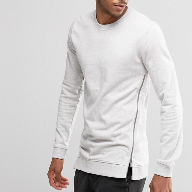AHD075 Men Apparel Wholesale Blank Cotton White Pullover Side Zipper Men's Hoodies