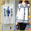 Latest top fashion design casual lady cotton embroidery blouse with long bell sleeve