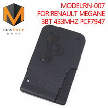 Remote control auto smart card car key for Renault Megane 3button 433MHz PCF7947 transponder chip