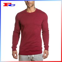 OEM Fitness Apparel Manufacturer In China Red Cotton Polyester Elastane Men Wholesale Long Sleeve Gym Wear For Winter