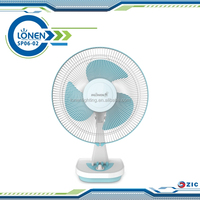 ZICLONEN 14inch battery emergency AC/DC electric rechargeable 12V dc table fan with LED bulbs