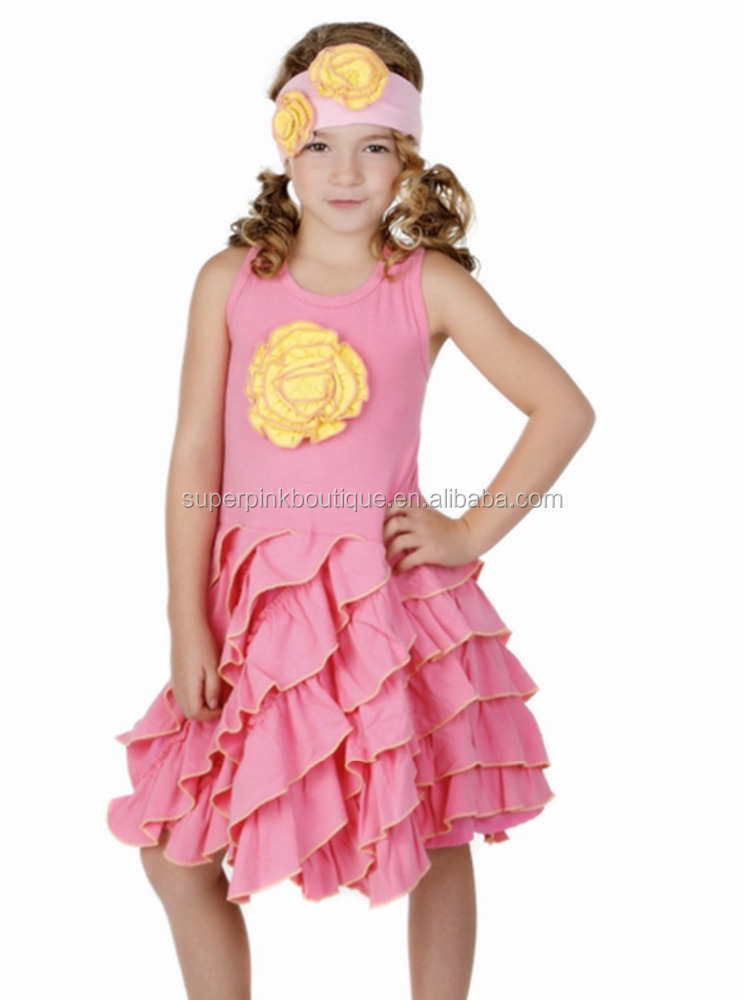 2016 high quality pink ruffle baby girls latest children summer dresses designs for kids