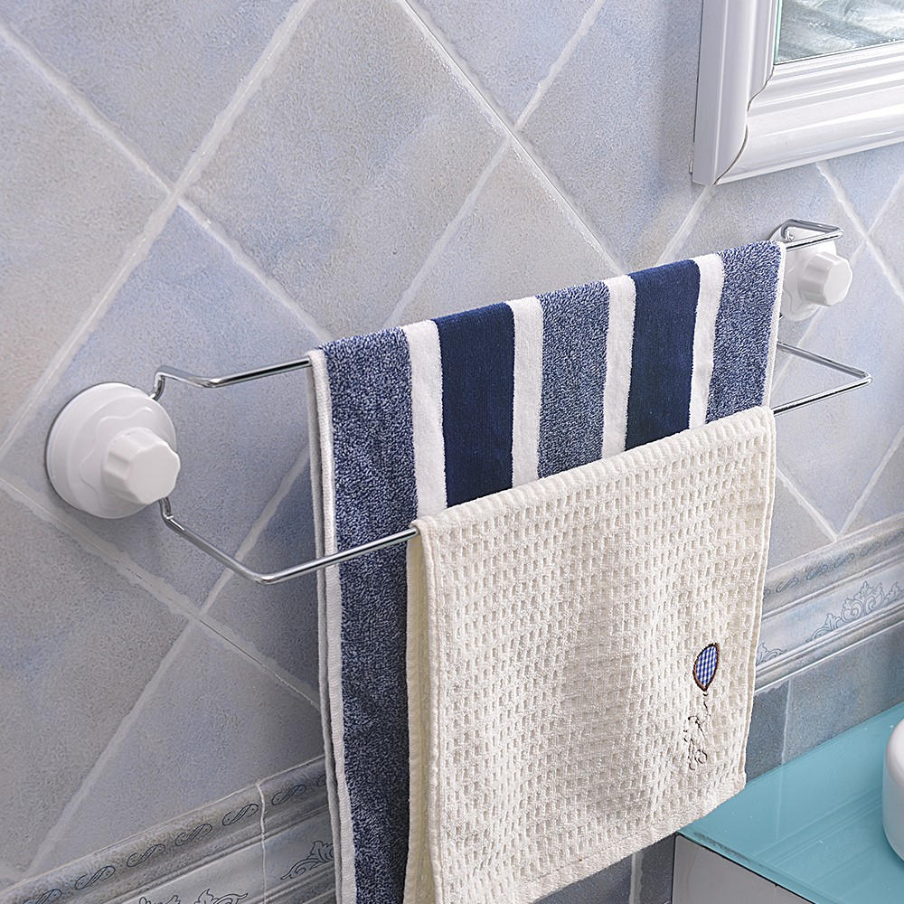Wrought iron chroming steel removable plastic suction cup bathroom towel bar