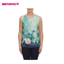 Lady sleeveless fashion floral Digital printing tops 2016 new design