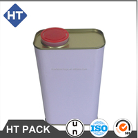 1L tin can for engine oil, synthetic oil can with plastic berg