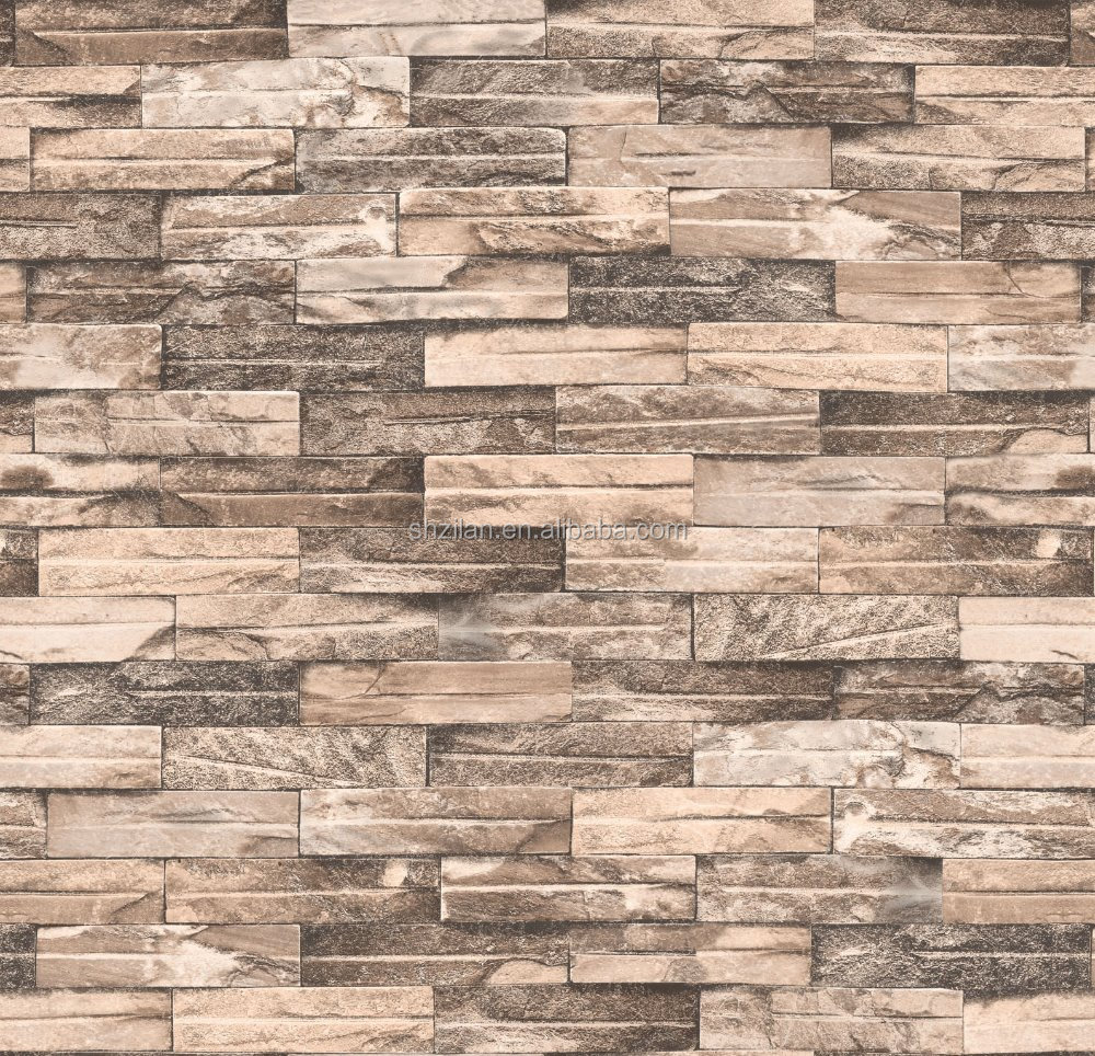 Lastest modern pvc 3d brick design pvc vinyl wallpaper for Wallpaper pvc 3d