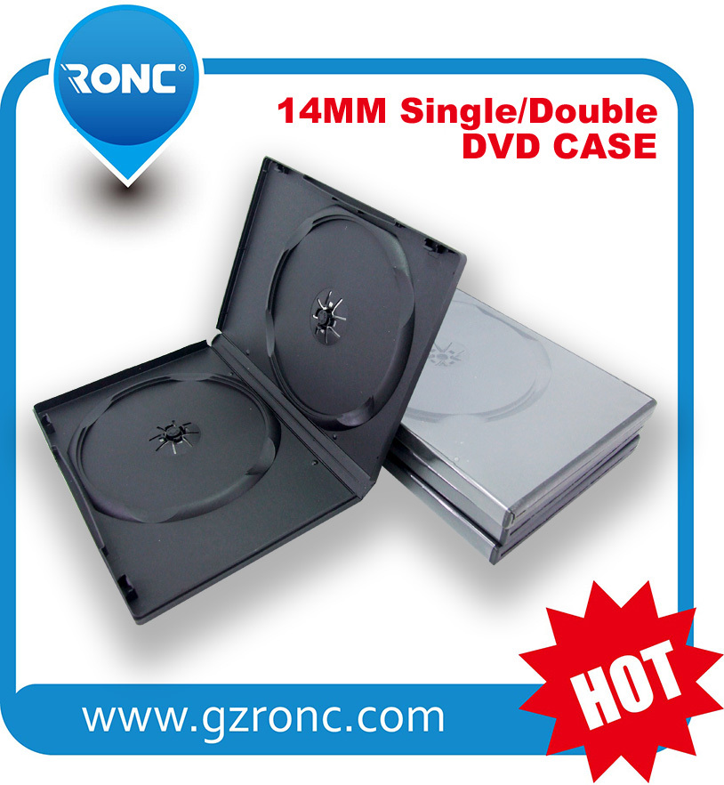 14mm pp black double DVD case with a glossy or matt clear film (sleeve) auto packing machine grade