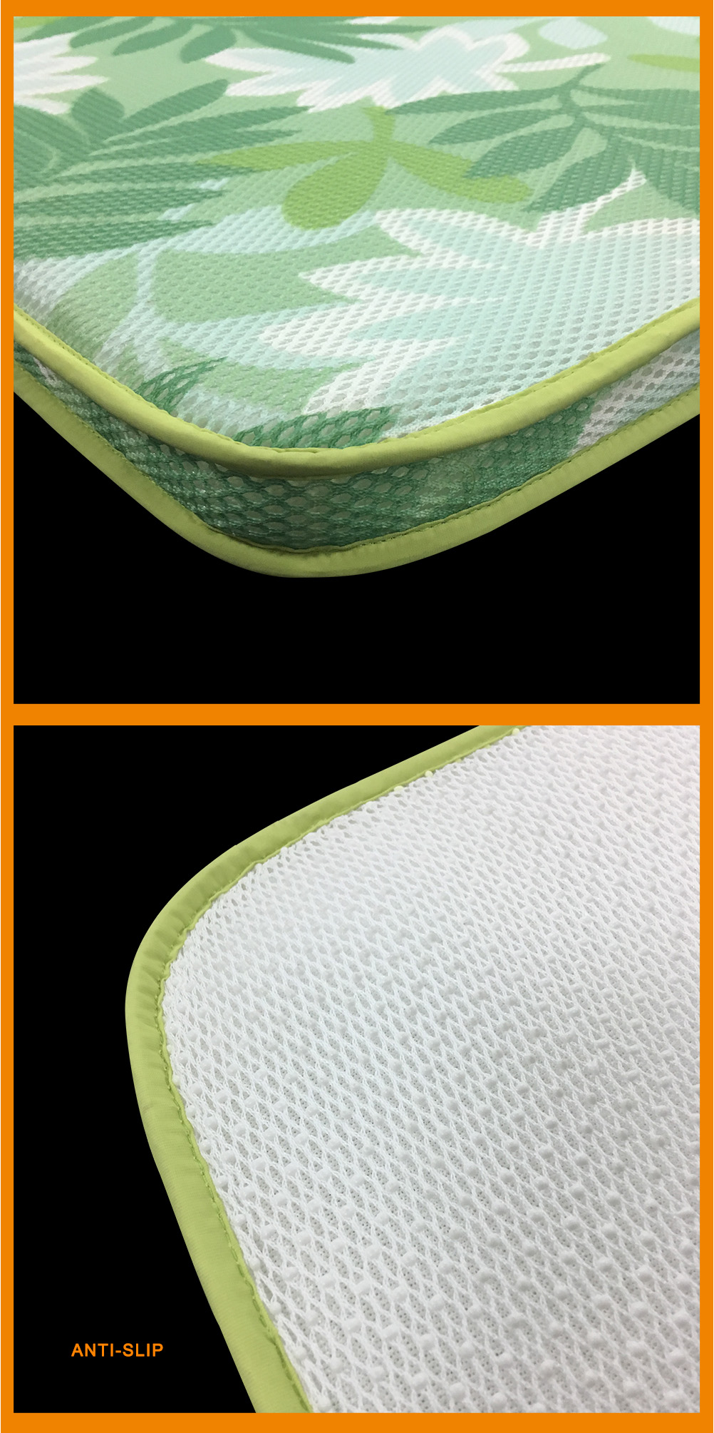 anti-slip green 3D mesh fabric cooling chair pad