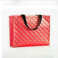 Laser film laminated metallic sewed non woven shopping tote bag