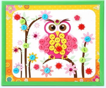 Button Owl /2016 New Style DIY Button Art Photo Frame For Kids Button Making Kit Button Craft Painting Material