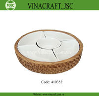 Handmade Best Selling Rattan Basket With ceramic Compartment For Food