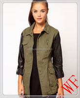2014 NEW Style Fashion Women Leather Sleeves Style Green Winter/Autumn Coats
