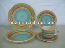 20pcs New Design Colorful Rainbow Ceramic Handpainted brand names of dinner sets for family and resturant use