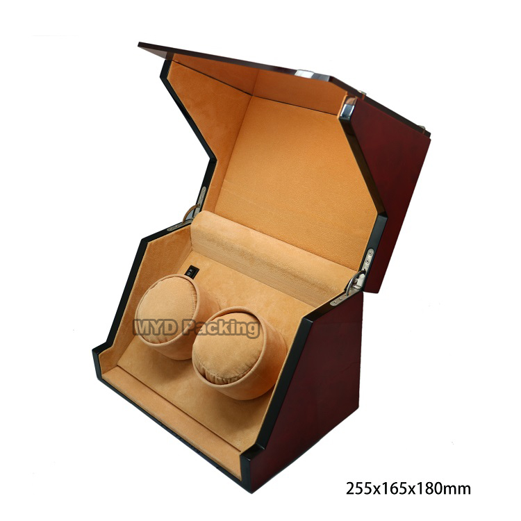 Glossy paint Japanese Motor watch winder box for two watches