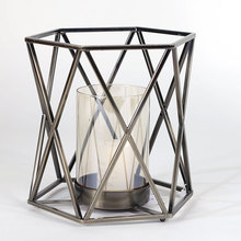 metal craft metal wire wrought iron glass cylinder cover geometric candle holder