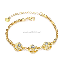 New Designs Gold Plated Crystal Charm Bracelet for Girls
