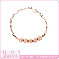 Moonsoul Wholesale Fashion Candy Ball 18K Rose Gold Plated High Quality Women Bracelet & Bangles 15B10043