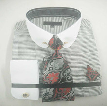 Hot Sale Contrast Vrtage Collar White cuff fashional tie Latest Shirts Pattern for men
