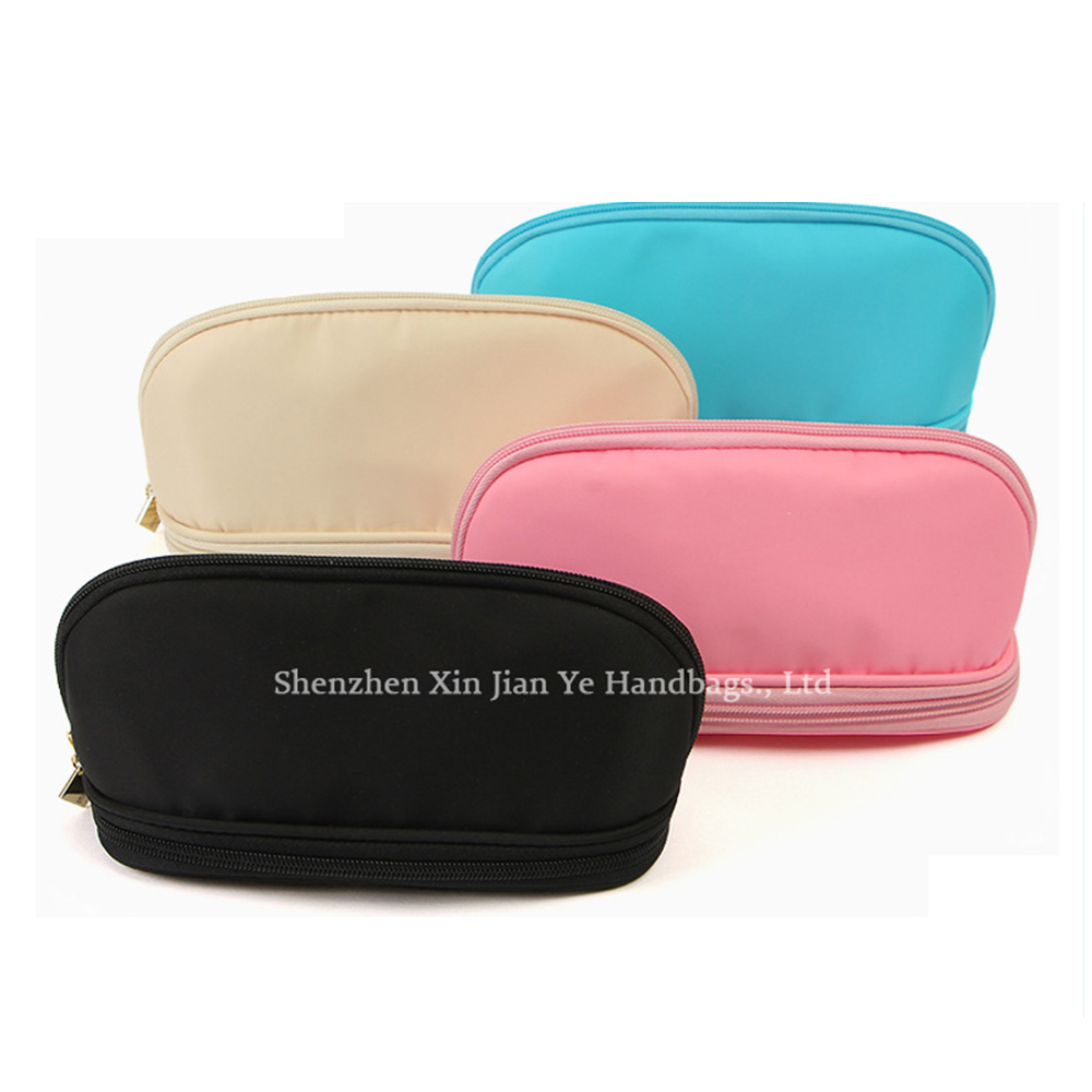 Two layer fashion travel cosmetic bag makeup brush vanity pouch