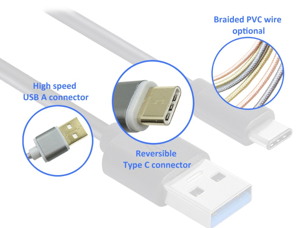 5Gpbs Super Speed USB c cable to USB 3.0 2M Type-C cable