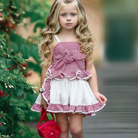 New Fashion Summer Children Birthday outfits girls Clothes Set Sleeveless Lace Up Tops Pant-skirt Set