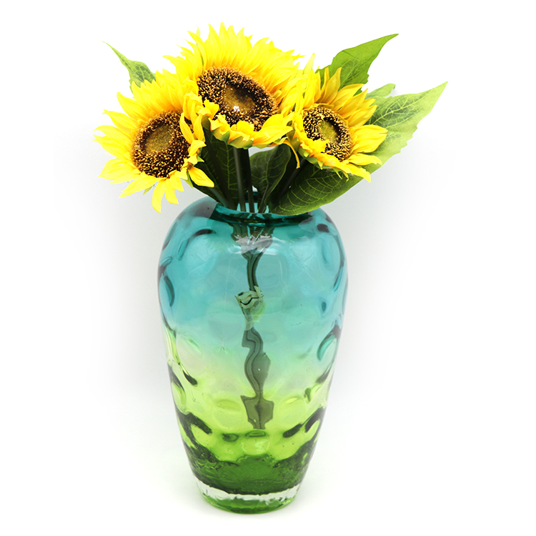 OEM/ODM multi size handblown amber glass vase according your design glass style bottle glass vase for wedding centerpieces