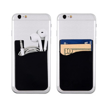 Black Mobile Phone Back Cover 3M Adhesive Sticker Silicone Phone Credit Card Holder for iPhone