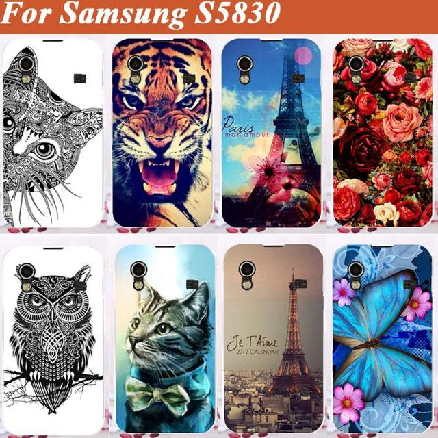 14 Patterns painting colored tiger lion owl rose eiffel towers hard Cover Case For Samsung Galaxy Ace S5830 S5830i free shipping