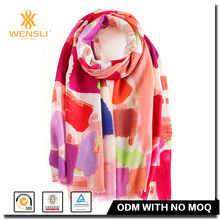 Zhejiang Wensli Wholesale Christmas Printing Long Sleeve Wool Shawl Hijab