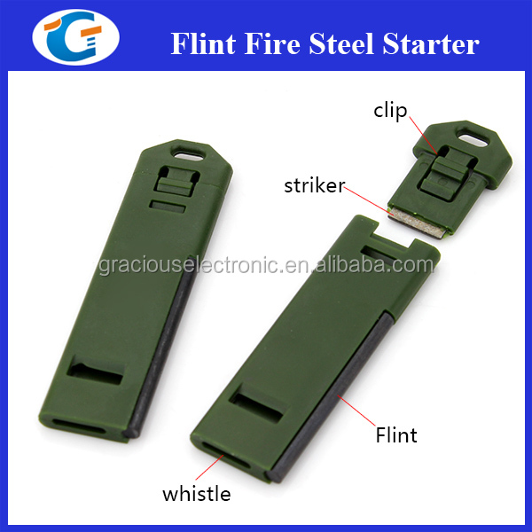 camping product flat plastic whistle with flint fire starter