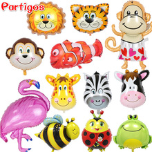 big size Animal head shaped Tiger Lion monkey cow Flamingo Foil helium Balloons for baby toys
