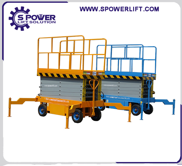 Single person high-altitude operations aerial mobile hydraulic scissor lift