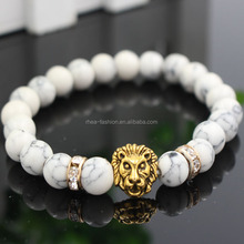 8mm Natural White Turquoise Stone Beads Bracelet for Women,Antique Silver and Gold Lion Head Bracelets, High Grade Mens Jewelry