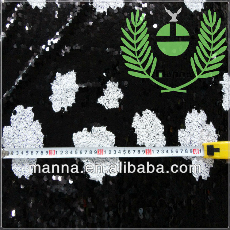 Black white floral embroidery design for shiny dresses